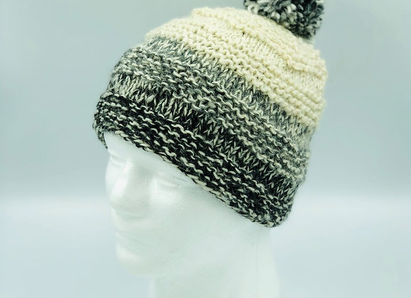 Grey and Cream Ombre Bobble Hat