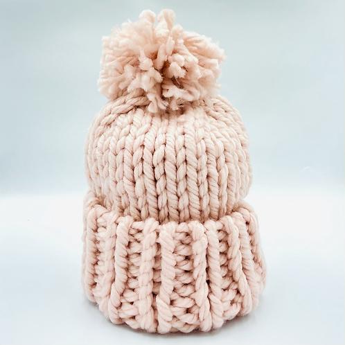 Ladies Knit Pink Bobble Hat