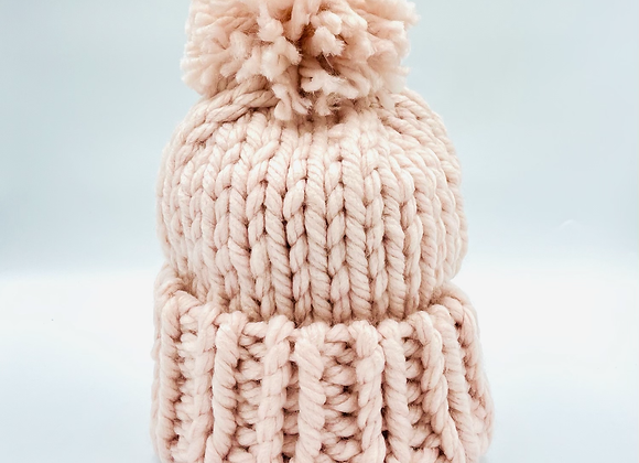 Ladies Knit Pink Bobble Hat
