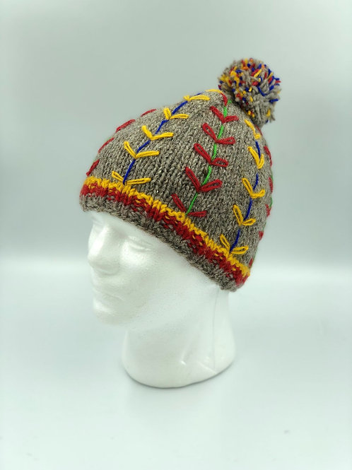 Grey Embroidered Bobble Hat