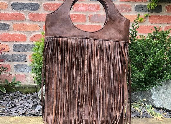 Fringed Leather Shopper Bag