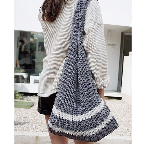 Lightweight Knit Shopper Bag (grey/white)