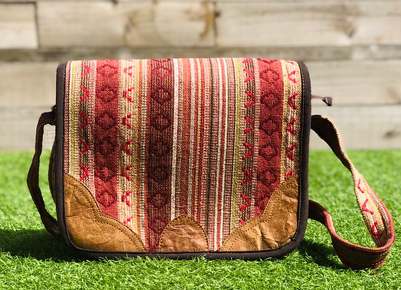 Dhaka Fabric Satchel (brown)