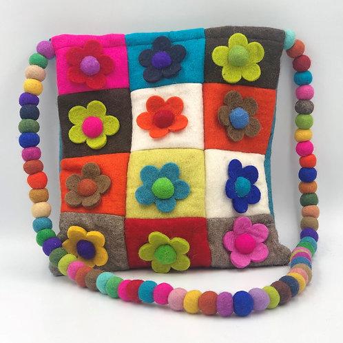 Felt Patchwork Flower Cross Body Bag