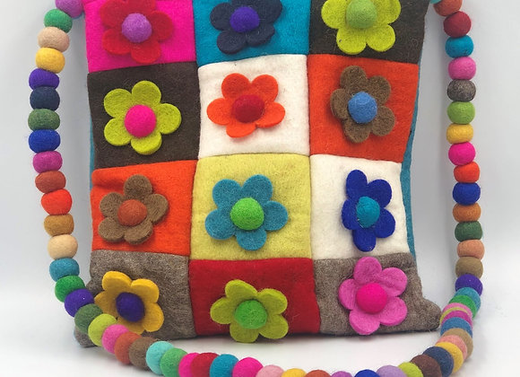 Felt Patchwork Flower Cross Body Bag