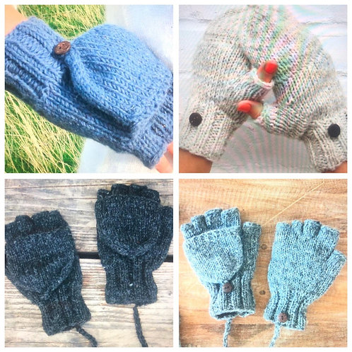 Handmade Lined Fingerless Gloves/Mittens - 100% Pure Wool