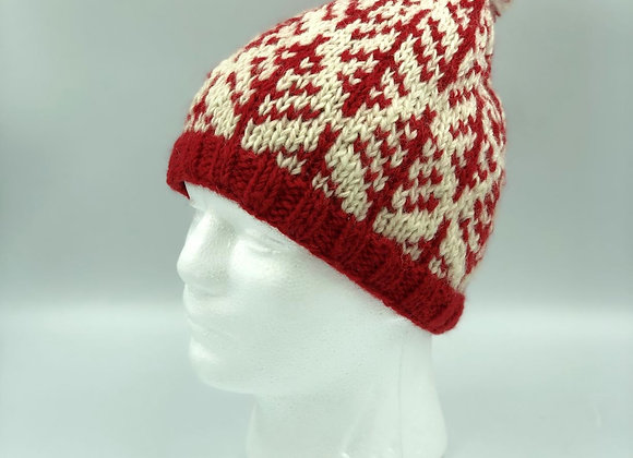 Red Patterned Bobble Hat