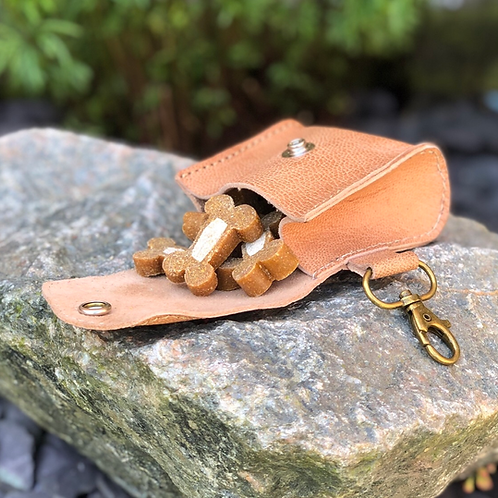 Leather Dog Treat Bag Keyring