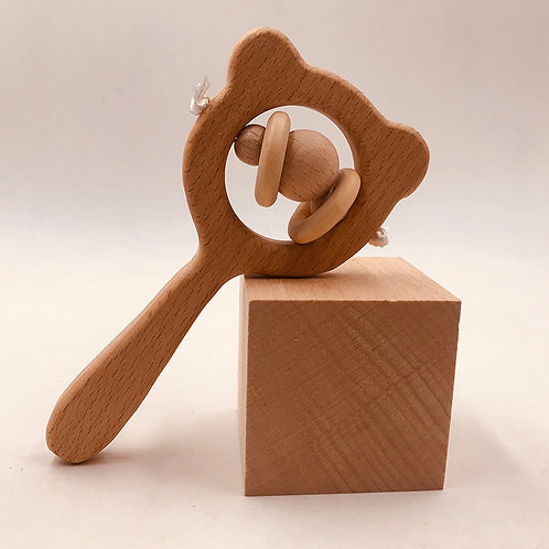 Handmade BPA free nature wood baby Rattle