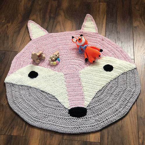 Crochet Pink Fox Rug