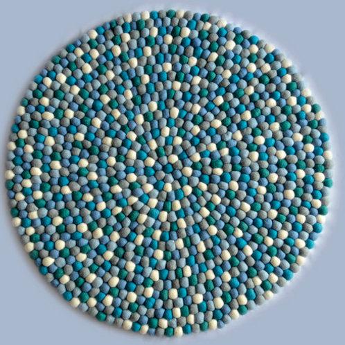 Felt Ball Play Mat (Blue/White)
