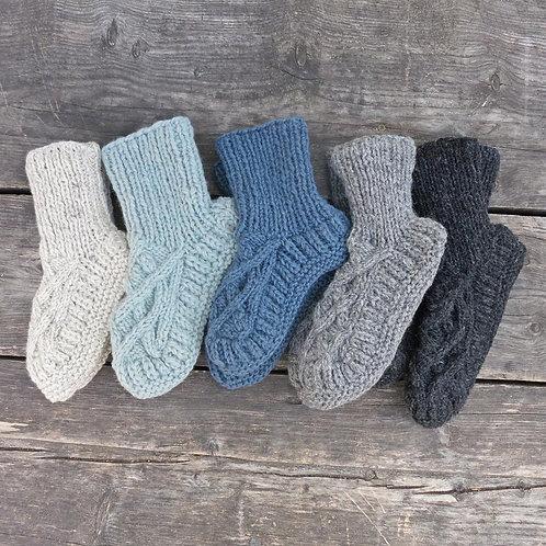 Handmade Cableknit Lined Slipper Socks