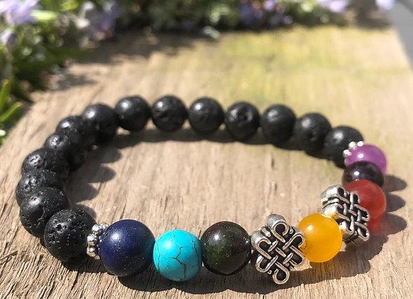 Chakra Bracelets with Lava Beads