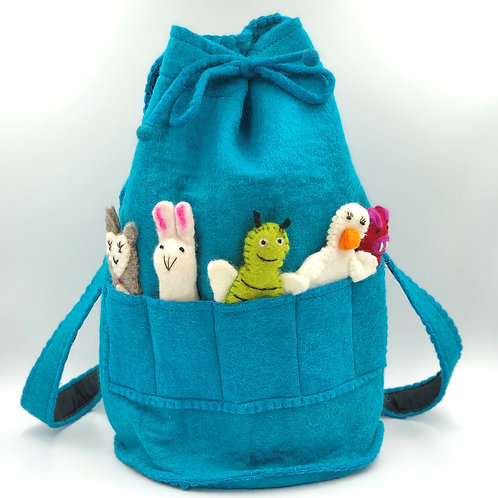 Felt Duffle Bag with Finger Puppets (turquoise)
