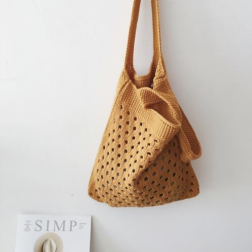 Lightweight Knit Shopper Bag (burnt orange)
