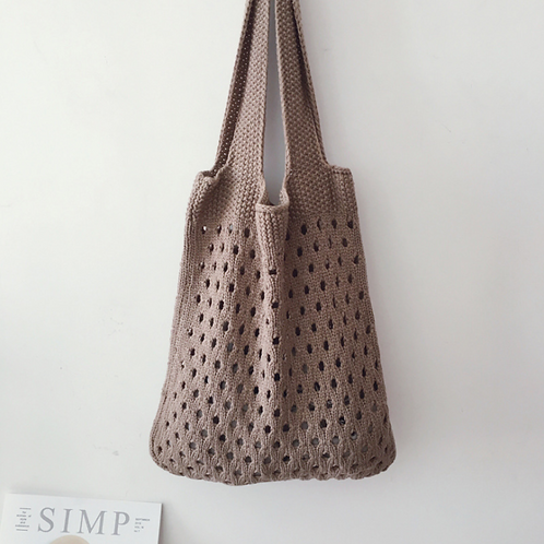 Lightweight Knit Shopper Bag (mocha)