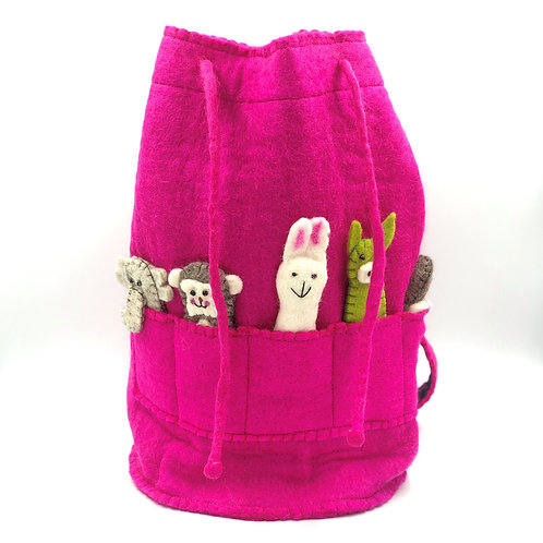 Kids Handmade Felt Duffle Bag With Felt Finger Puppets