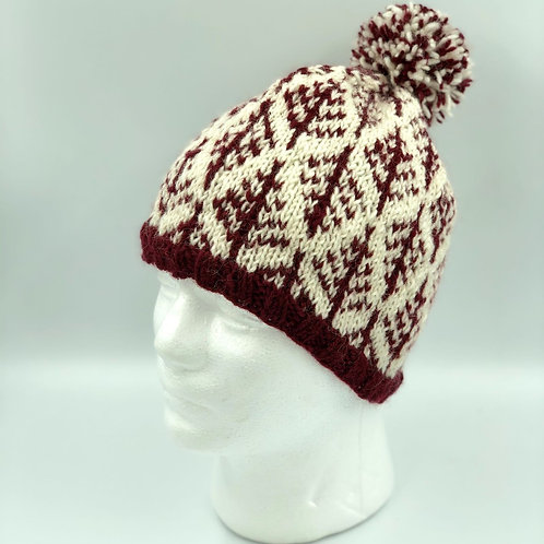 Handmade Dark Red Pattern Wool  Bobble Hat