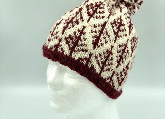 Patterned Burgundy Bobble Hat