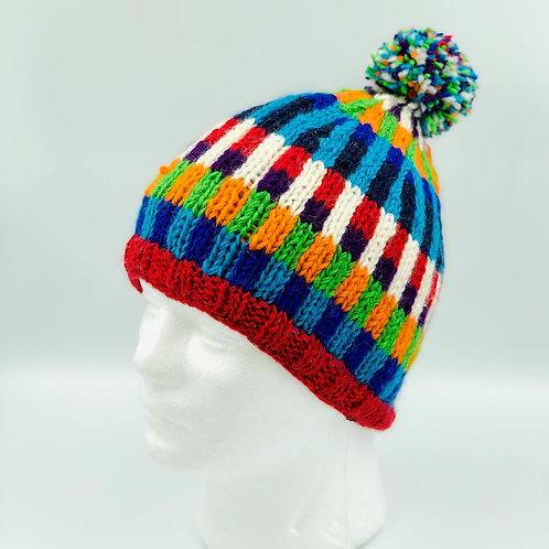 Handmade Stripy Pattern Wool  Bobble Hat