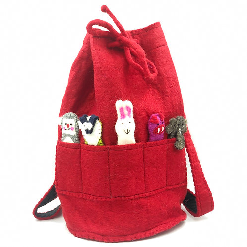 Felt Duffle Bag With Finger Puppets (red)