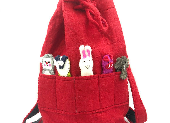 Felt Duffle Bag & Finger Puppets (available in 5 colours)