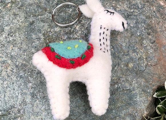 Felt Llama Keyring