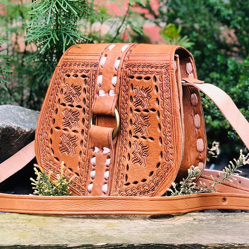 Embossed Leather Saddle Bag