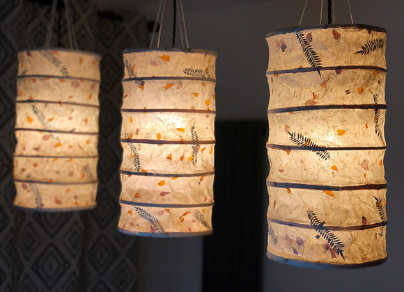 Lokta Paper Lamp Shade with Fern Leaves