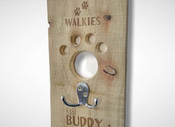 Personalised dog lead hook with paw cut out