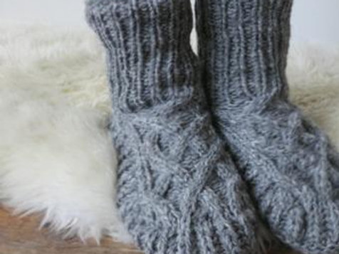 Fair Trade Cable Knit Wool Jersey Lined Slipper Socks