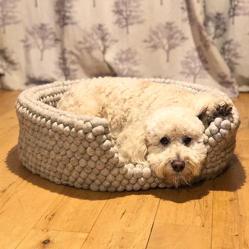 Oatmeal Felt Ball Dog Bed