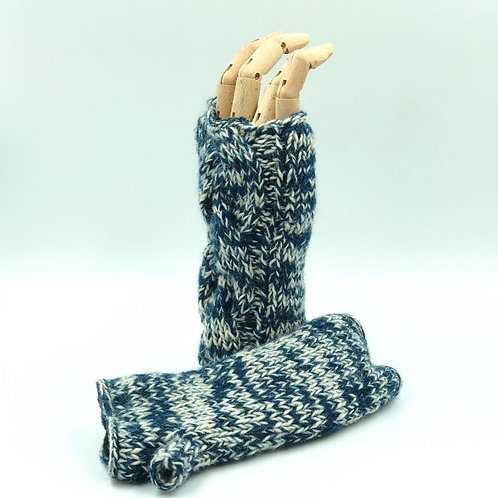 Pure Wool Lined Hand Warmers - Blue