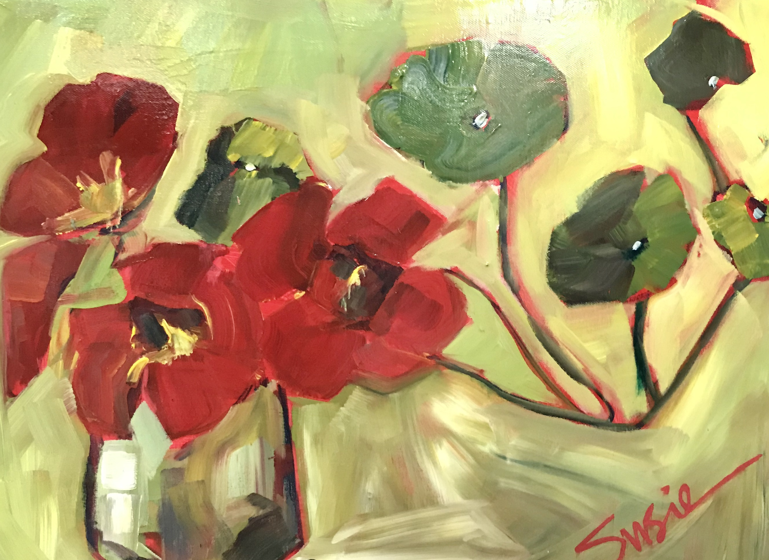 """""""Red Flowers on Green"""""""