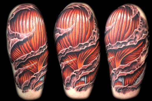 3d skin rip muscle tattoo