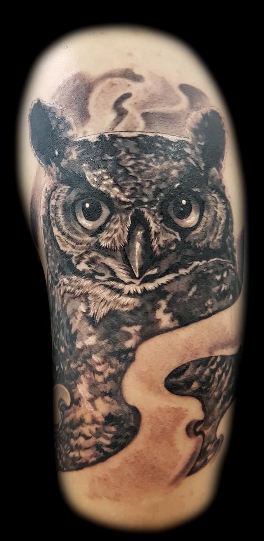 Owl Tattoos Steve Thrasher Inner Visions Tattoo Shops Las Vegas