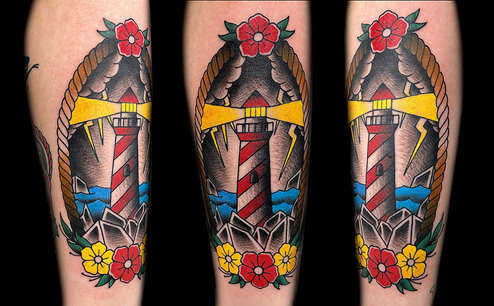 Traditional Lighthouse Tattoo by Las Vegas Tattoo Artist Danny Valens