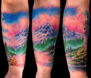 Color Landscape Tattoos by Josh Herrera
