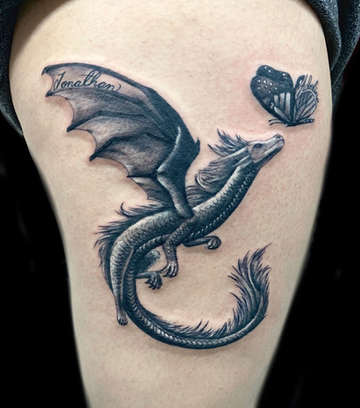 Dragon and Butterfly Tattoo by Danny Valens