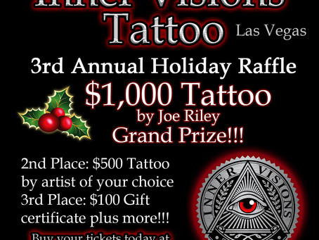 3rd Annual Holiday Raffle - Win a $1,000 Tattoo