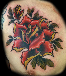 Neo Traditional Rose Tattoo by Las Vegas Tattoo Artist Joe Riley