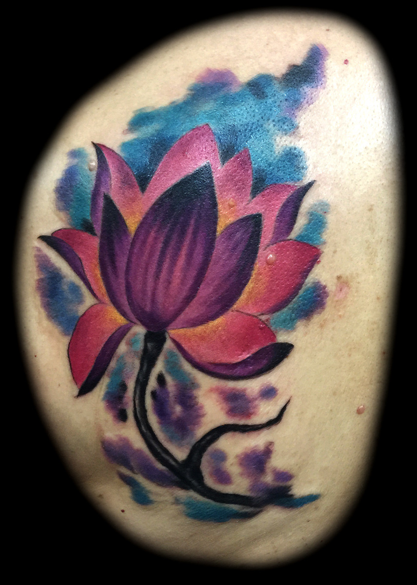 Watercolor Lotus Flower Tattoos Tattoo Shops Las Vegas Strip