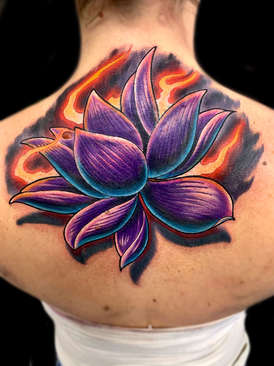 lotus flower back tattoo