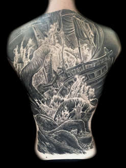 Octopus and  Pirate Ship Tattoos Las Vegas