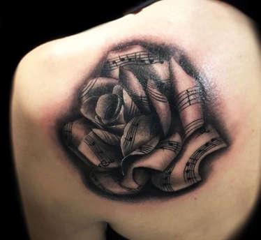 Black and Grey Rose Tattoo - Las Vegas Tattoos - Josh Herrera