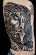 Jesus Portrait Tattoos Las Vegas by Joe Riley