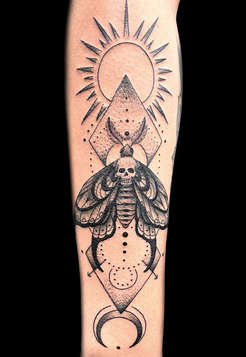 Geometric Moth Tattoos by Danny Valens Las Vegas Tattoo Artist