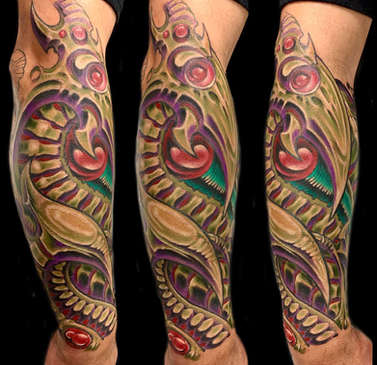 Color Biomechanical Tattoo Sleeve