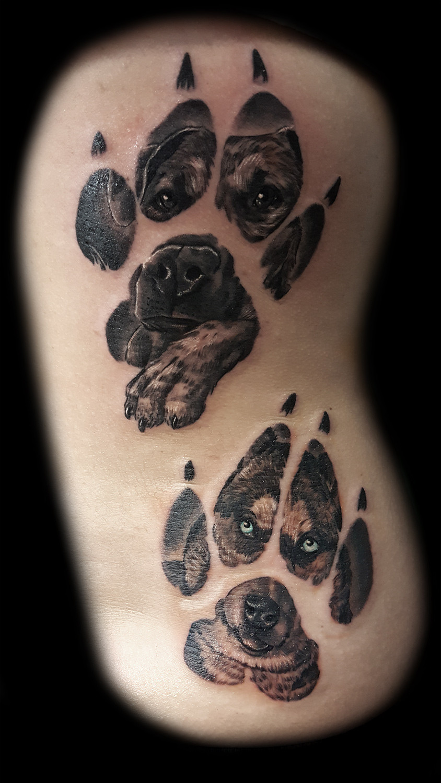 Dog portrait tattoos best tattoo shops in las vegas steve for Tattoo shops on the vegas strip
