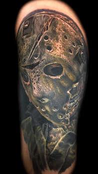 Friday the 13th Tattoos Las Vegas, Jason Vorheez by Joe Riley